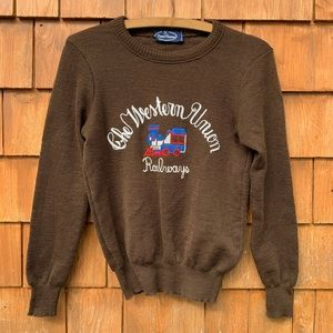 Vintage Work Wear Chain Stitched Wool Sweater